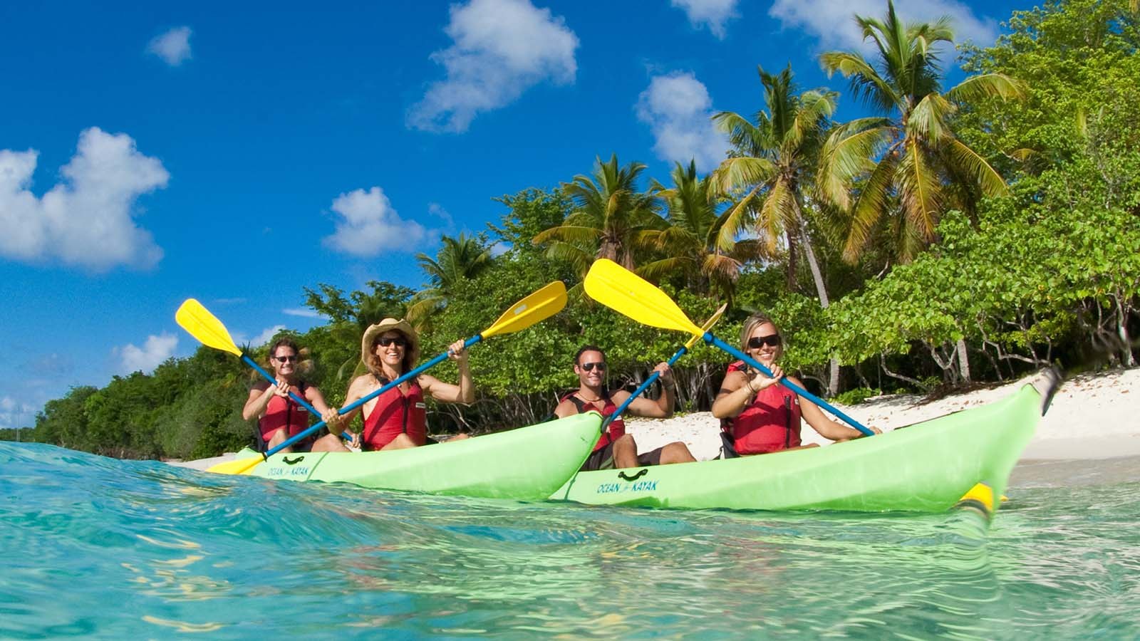 Kayakers with VI Eco Tours at Honeymoon Beach St. John US Virgin Islands